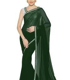 Buy Dark green plain faux georgette saree with blouse georgette-saree online
