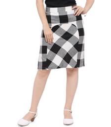 Buy Women's Stylish Checks Knee Length Fitted Skirt short-skirt online