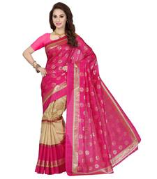 Buy Pink printed silk saree with blouse bhagalpuri-silk-saree online