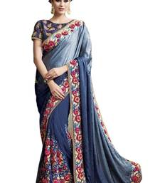 Buy Navy blue embroidered chiffon saree with blouse bridal-saree online
