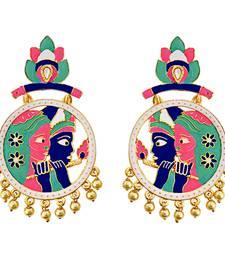 Buy Designer Meenakari gold plated radha krishna brass bali jhumki earring set-571 Earring online