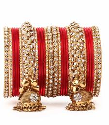 Buy Traditional shining bangle Jhumki Bangle set for Two Hands by Red bangles-and-bracelet online