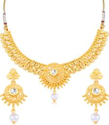 Buy Sukkhi Resplendent Gold Plated Choker Necklace Set for women necklace-set online