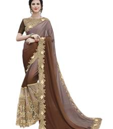 Buy Brown embroidered satin saree with blouse wedding-saree online