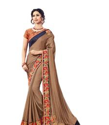 Buy Brown embroidered silk saree with blouse wedding-saree online