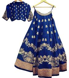 Buy Blue embroidered silk unstitched lehenga lehenga-below-2000 online
