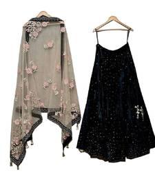 Buy Black embroidered velvet unstitched lehenga lehenga-below-2000 online