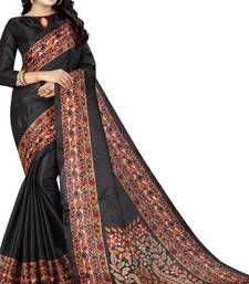 Buy Black printed silk saree with blouse art-silk-saree online