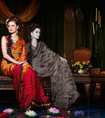 Elegant Satin Chiffon Sari