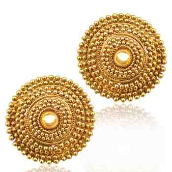 South Indian golden flower ethnic ADIVA copper stud ab74