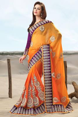 Golden Embroidered Silk Sari