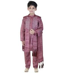 Buy Maroon sequins cotton silk Sherwani and Churidar Set For Boys boys-sherwani online