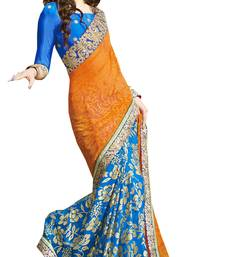 Buy Orange embroidered brasso saree with blouse contemporary-saree online