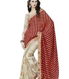 Buy Maroon embroidered viscose saree with blouse designer-embroidered-saree online