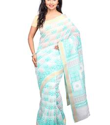 Buy White printed cotton saree with blouse gadwal-saree online