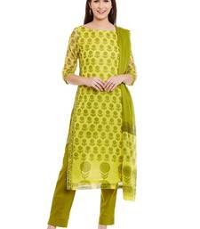 Buy Green printed cotton salwar with dupatta dress-material online
