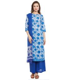 Buy Blue  printed cotton salwar with dupatta dress-material online