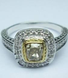Buy 1.00 Cts Fancy Intense Yellow Cushion Shape Diamond & White Round Diamond Ring gemstone-ring online