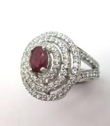 Buy Red Oval Ruby & White Diamond Ring 14K Gold gemstone-ring online