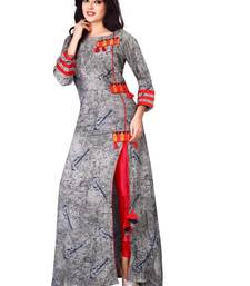 Buy Grey embroidered rayon stithced party-wear-kurtis party-wear-kurtis online