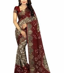Buy Multicolor hand woven art silk sarees saree with blouse bandhani-sarees-bandhej online