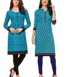Buy Multicolor printed 2 cotton unstithced kurti combo-kurtis online