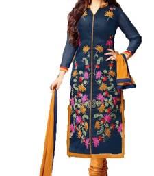 Buy Blue embroidered Cotton semi stitched salwar with dupatta cotton-salwar-kameez online