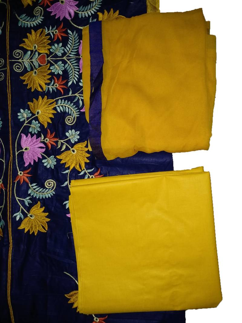 Buy Blue embroidered Cotton semi stitched salwar with dupatta Online