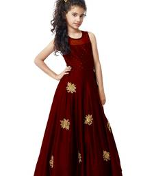 Buy Maroon Sequance Embroidery Banglori silk Heavy Latest New Designer Festive wear ReadyMade Gown Dress For Girls kids-girl-gown online