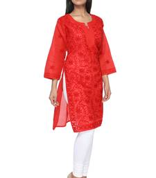 Buy Red embroidered cotton stitched kurti kurtas-and-kurti online