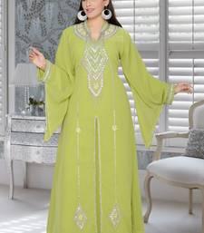 Buy Parrot green embroidered faux georgette islamic kaftans islamic-kaftan online
