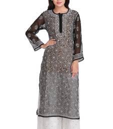 Buy Black embroidered georgette chikankari-kurtis chikankari-kurtis online