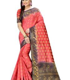 Buy Peach printed nylon saree with blouse other-saree online