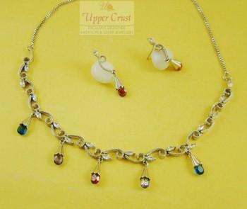 Sleek Multicolored CZ Necklace Earring Jewellery