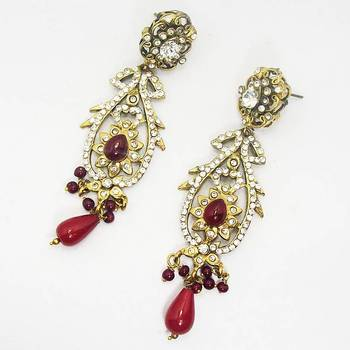 Victorian Earring Solid Red Long Dangler
