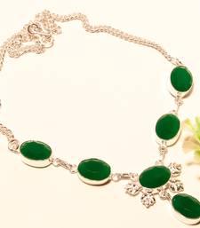 Buy Emerald gemstone 925 silver necklace 16-18 gemstone-necklace online