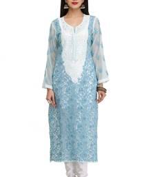 Buy Blue embroidered georgette chikankari-kurtis