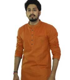 Buy Orange cotton solids mens wear kurta men-kurta online