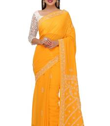 Buy Mustard embroidered georgette saree with blouse chikankari-saris online