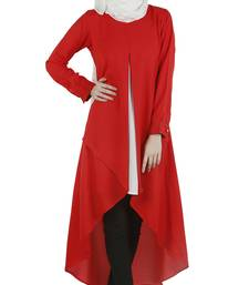 Buy Red poly moss stitched tunics tunic online