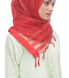 Buy Brick colored net-tissue formal hijab hijab online