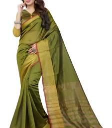 Buy Mehendi plain art silk saree with blouse art-silk-saree online