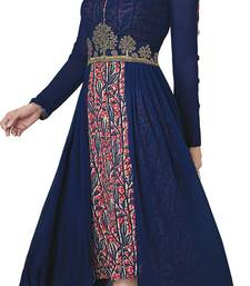 Buy Blue embroidered georgette party-wear-kurtis party-wear-kurtis online