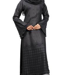 Buy Black Colour Beads Stone Work Georgette & Nida With Printed Inner Design Straight Burka burka online
