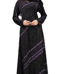 Buy Black & Purple Colour High Quality Stretchable Printed Lycra Anarkali Style Burka burka online