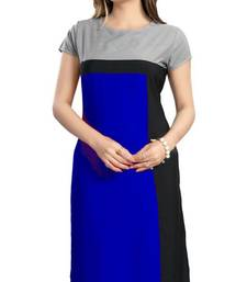 Buy Blue plain crepe stitched kurti kurtas-and-kurtis online