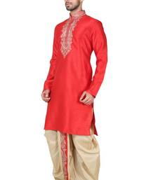 Buy Indian poshakh maroon bangalore silk kurta pajama kurta-pajama online