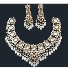 Buy Patchi Ahmedabadi Kundan necklace with earrings set necklace-set online