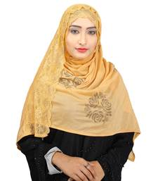 Buy Beige Colour Khati work Lace Work &  Diamond Stone work Indian Hoisery Cotton Hijab (Headscraf) hijab online