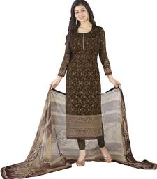 Buy Coffee embroidered georgette unstitched salwar with dupatta dress-material online